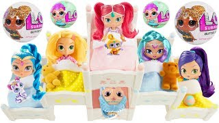 LOL Surprise Dolls Lil Sisters visit Shimmer and Shine Bunk Beds