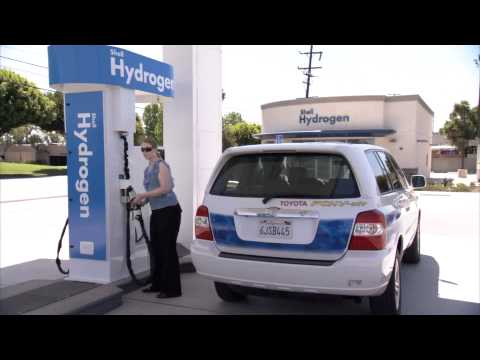 A Toyota FCEV-adv, a fuel cell car, filling up with hydrogen