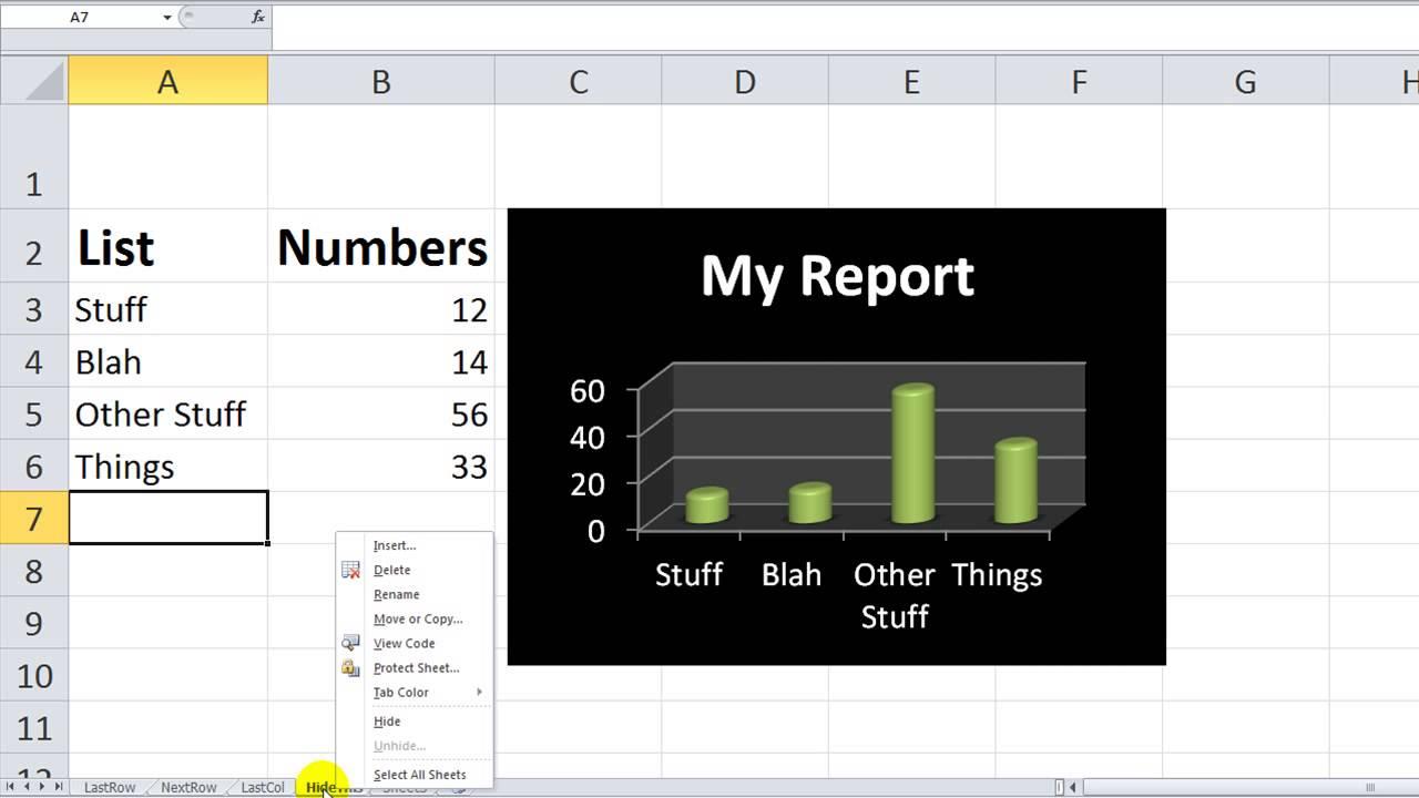 Excel worksheets hidden