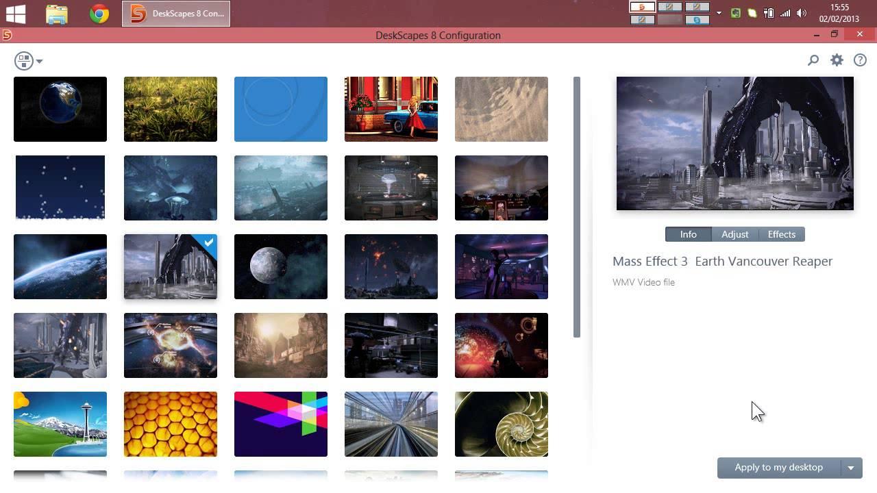Overview: Video Desktop in Windows 8 using Deskscapes 8 Beta.