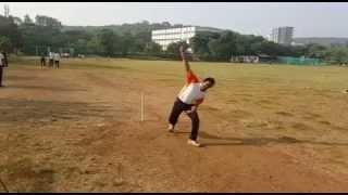 Cricket bowling, follow through