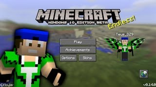 Minecraft PE 0.14.0: Interface do Windows 10 com asas Sem mods e sem Block Launcher!