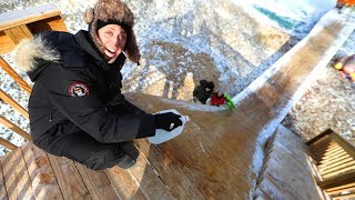 WE BUILT A HUGE ICE RAMP!!