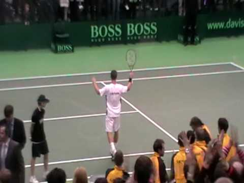 James Ward goes down to Ricardas Berankis at GB Davis Cup in Lithuania.
