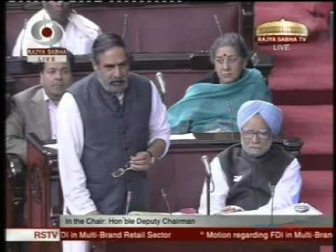 Anand Sharma in  Rajya Sabha on FDI in Multi Brand Retail -1 : Dec 7, 2012
