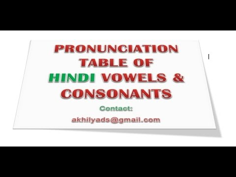 Hindi Language vowels and consonants pronunciation  key table.mp4