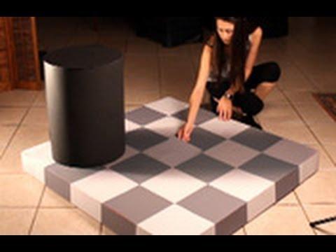 Increíble ilusión óptica con sombras y cuadros bicolores