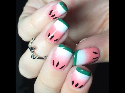 Nail Art Tutorial - Gradient Watermelon Nails Using Whatsupnails French Tip Vinyl Tape DIY