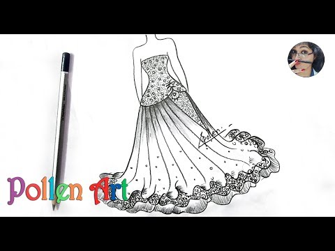 How to draw Sketch Fashion Designs Dress | How to draw a dress easy for beginners step by step