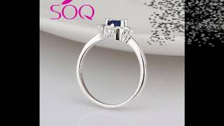 Fashion casual silver round jewelry blue zircon ring