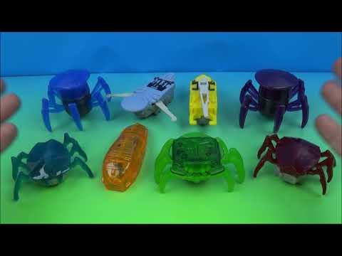 2014 HEXBUGS SET OF 8 McDONALD'S HAPPY MEAL KID'S TOY'S VIDEO REVIEW