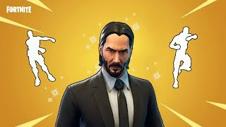 FORTNITE JOHN WICK SKIN DOING DANCE EMOTES (including floss and scenario)