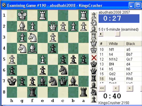 Chess World.net: Blitz  #52 vs. Abudabhi2008 (2057) - Reti : King's Indian attack, French variation