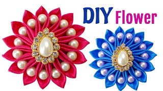 DIY Sewing Project : How to Make an Easy DIY Satin Ribbon Flower | Wedding Hair Accessories