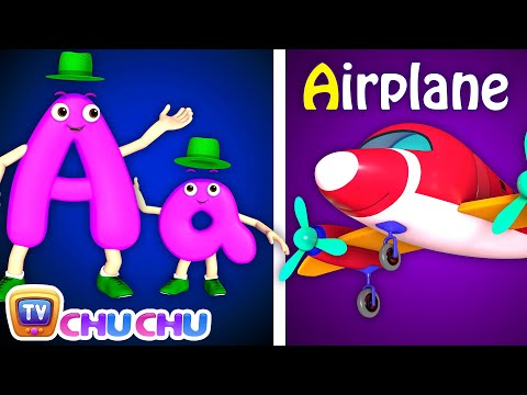 NEW 3D Phonics Song with TWO Words - A For Airplane - ABC Alphabet Songs with Sounds for Children