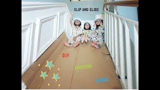 Kids Playground Indoor DIY Slip and Slide from Cardboard | Mainan Perosotan kardus