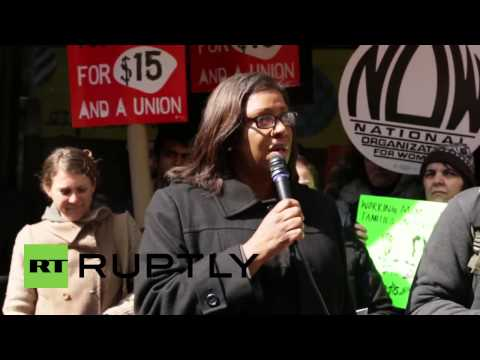 Protest held at NYC McDonald's over low wages