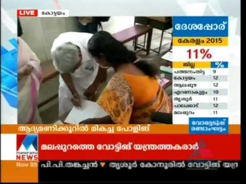 Chief Minister Ommen Chandy voting in Panchayath Election 2015  | News Video | Manorama Online