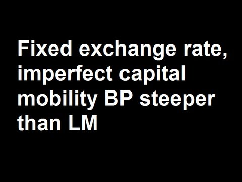 Fixed exchange rate, imperfect capital mobility BP steeper than LM and increase in government expend