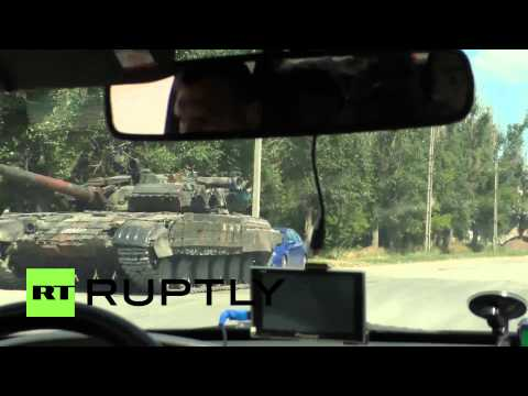 Ukraine: Tank on show at Lugansk People's Republic militia checkpoint