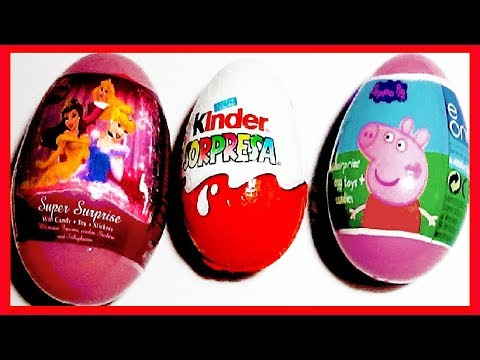3 HUEVOS SORPRESA,PEPPA PIG, PRINCESAS DISNEY  Y MAGIC KINDER. COLECCIÓN 2013. KINDER SURPRISE