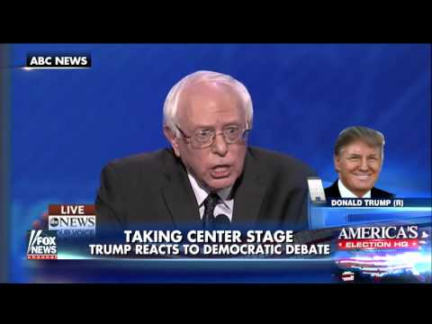 Donald Trump reacts to the fourth Democratic debate