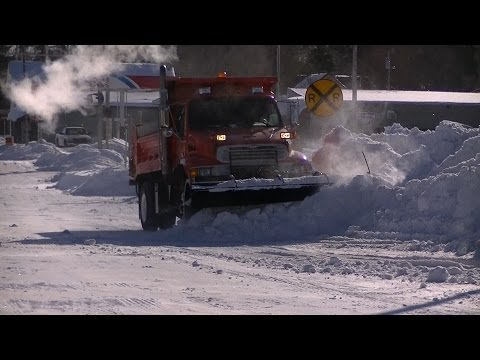 Snow Plowing Village of Warrens Sterling Dump Truck Pushing Back Drifts
