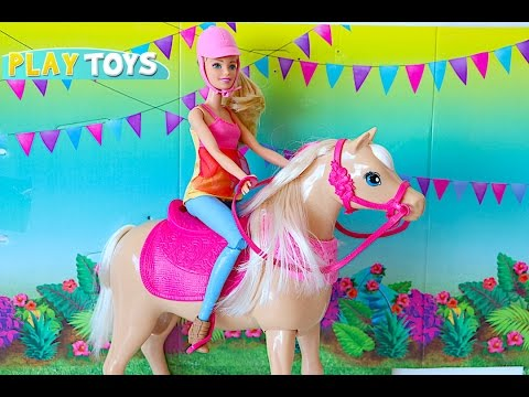 Barbie Doll Dancing Horse toy & Barbie and Ken Wedding day party - playing baby doll toys for kids thumbnail
