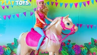 Barbie Doll Dancing Horse toy & Barbie and Ken Wedding day party - playing baby doll toys for kids