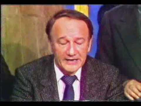 George Marinescu şi Teodor Brateş la TVR, 22 dec 89, înainte de a-i da legătura lui Iliescu
