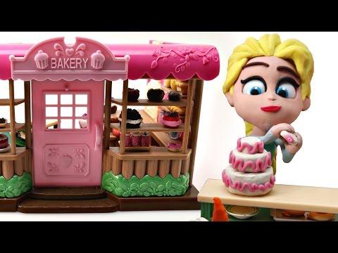 ELSA BAKES A CAKE *** FROZEN BAKERY-Playdoh Stop Motion video. thumbnail