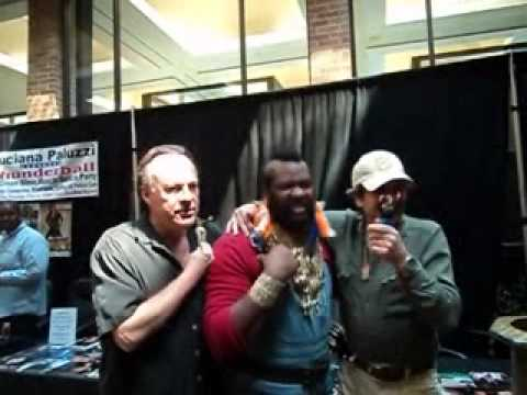 A-team reunion Mr.T lookalike Meets Faceman Dirk Benedict and Dwight Schultz H M Murdock
