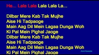 Dilbar Mere - Kishore Kumar Hindi Full Karaoke with Lyrics
