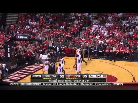 NBA, playoff 2014, Spurs vs. Trail Blazers, Round 2, Game 3, Move 20, Marco Belinelli, fake