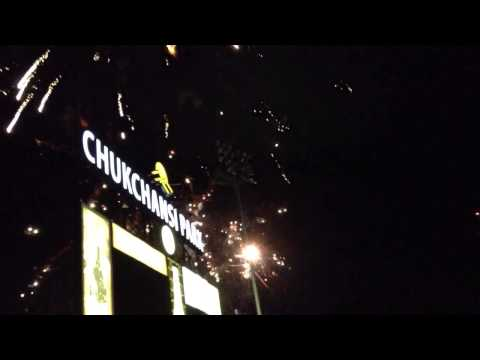 Fireworks after grizzlies game in Fresno