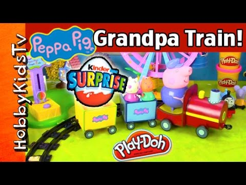Peppa Pig's Grandpa Pig Train Toy + KINDER Egg + Thomas the Train by HobbyKidsTV