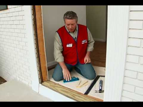 How to install a pre hung exterior door youtube for How to install a threshold for an exterior door