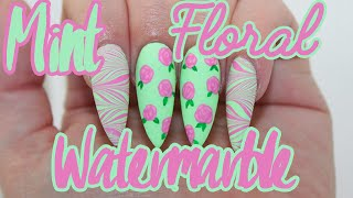 Matte Mint Floral Water Marble Acrylic Nail Tutorial
