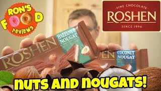 ROSHEN HAZELNUT AND COCONUT NOUGAT BARS!! CANADIAN TRIES EUROPEAN CHOCOLATE! TASTE AND REVIEW!!