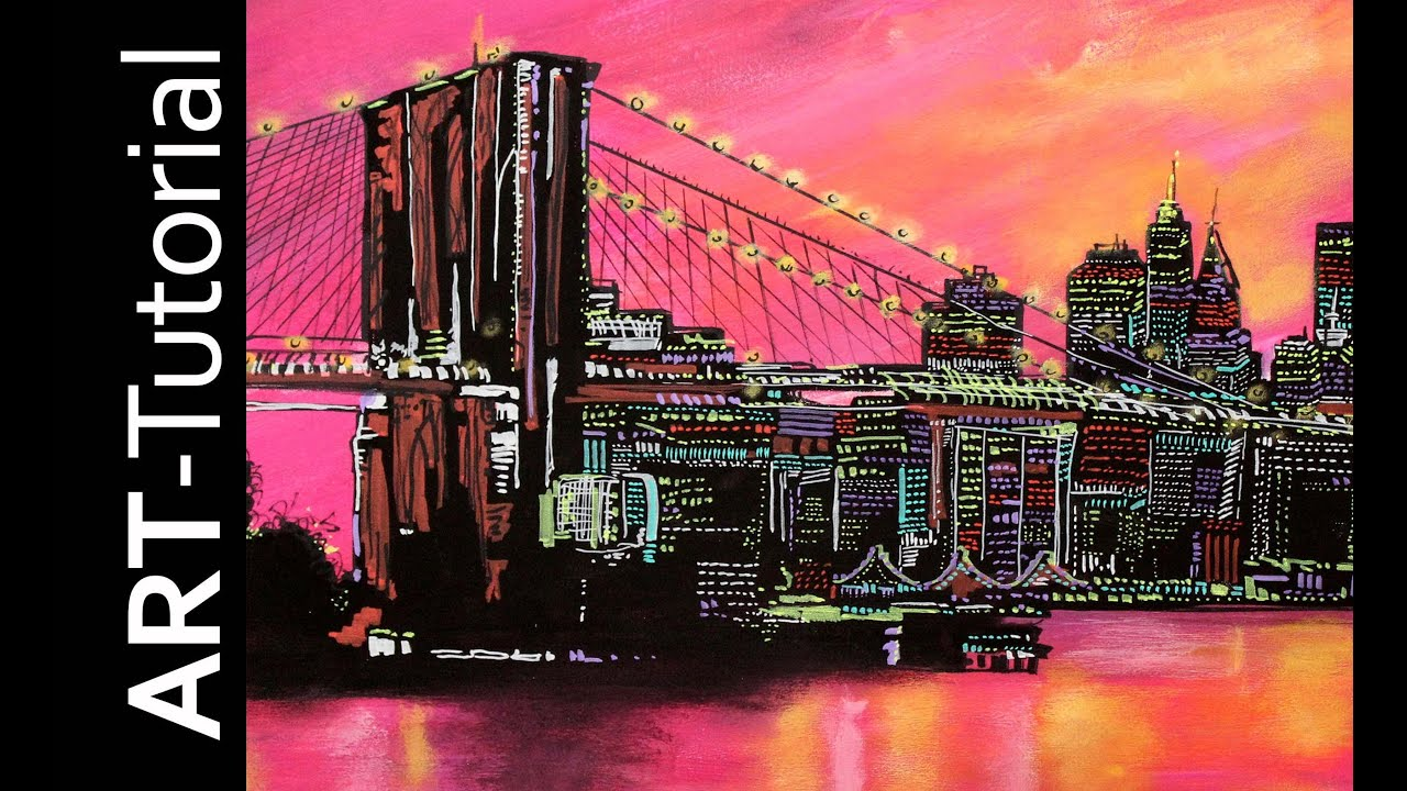 Manhattan Skyline Acrylmalen , acrylic painting demo ...