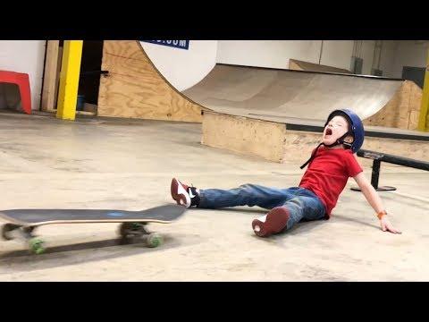 6 Year Old Skateboard Slams! (Again & Again!)