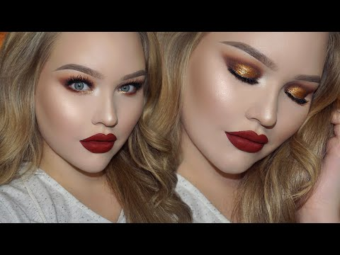 Gold Smokey Eyes - Classic Red Lips   Holiday Glam Makeup