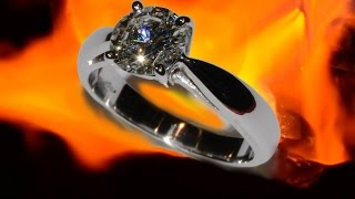 diamond, mounted on white gold solitaire ring, handmade