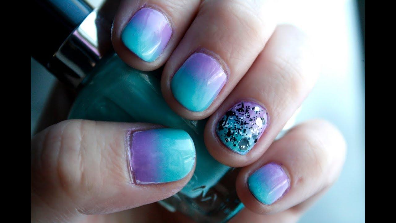 D grad de vernis mauve et turquoise nail art youtube - Chambre mauve et turquoise ...