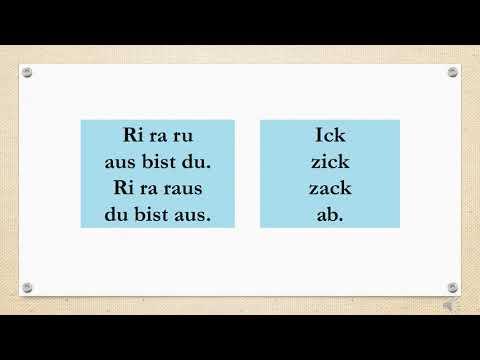 Wyliczanka Czyli Abzählreim Po Niemiecku, ĆWICZENIE WYMOWY