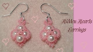 Hidden Hearts Earrings Beading Tutorial by HoneyBeads1 (Valentine