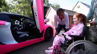 Richard Hammond grants Emilia's Rays of Sunshine wish to go in a pink Lamborghini!