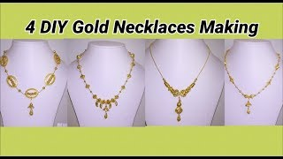 4 DIY gold necklaces making at home