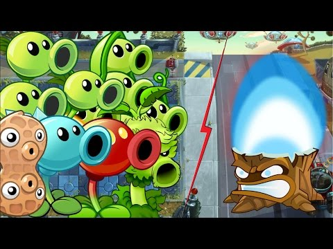 Plants vs Zombies 2 Gameplay - All Peashooters vs Torchwood Plants