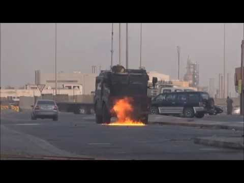 Bahrain : Face To Face Clashes With Riot Police Armoured Vehicle